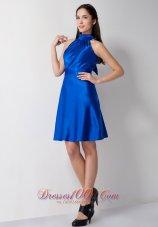 High-neck Royal Blue Bridesmaid Dress Knee-length