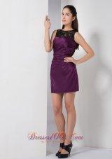 Bateau Mini-length Dark Purple Taffeta Bridesmaid Dress