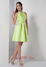 Knee-length High-neck Yellow Green Bridesmaid Dress