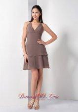Chiffon A-line Mini-length Brown Bridesmaid Dress Halter