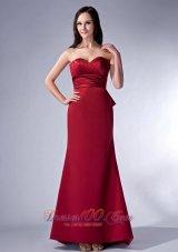Wine Red Sweetheart Brush Satin Bridesmaid Dress