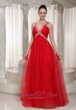V-neck Red Chiffon Beading Decorate Prom Evening Dress