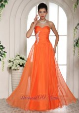 Orange Red Sweetheart Appliques Chiffon Celebrity Dress