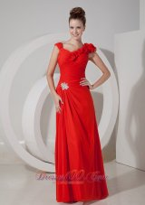 Chiffon V-neck Red Handmade Flower Evening Dress