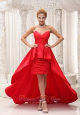 Red High-low Evening Dress Taffeta Sweetheart