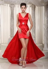 Wide Straps Red Prom Dress High-low Beaded V-neck