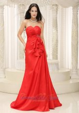 Ruched Brush Train Red Lace-up Prom Dress Ruffled