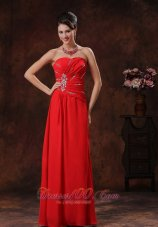 Chiffon Beaded Strapless Red Prom Dress 2013
