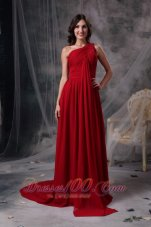 One Shoulder Brush Train Chiffon Red Evening Dress