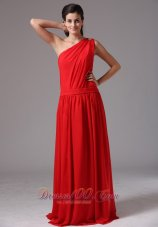 Red Prom Dress with One Shoulder Chiffon Beads