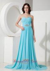 Aqua Blue Brush Train Evening Dress Chiffon Beaded