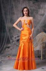 Orange Ruch Column Evening Dress Taffeta Appliques