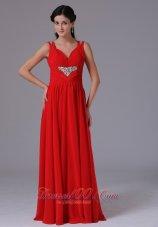 Beading Red V-neck Celebrity Dress Wide Straps