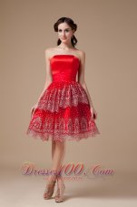 Taffeta Red Knee-length Prom Dress Strapless Beadwork