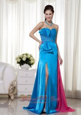 Two-toned High Slit Bowknot Prom Evening Dress Sweetheart