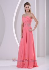 Watermelon Beads Ruched Chiffon Dress For Prom