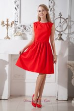 Knee-length Red A-line Scoop Prom Dress Taffeta