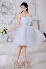 Appliques White Mini-length Organza Prom Dress