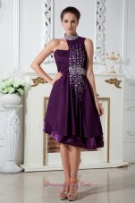 High Neck Dark Purple Knee-length Beads Prom Dress