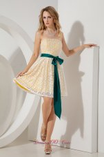 Yellow Mini-length Homecoming Dress Lace Sashed
