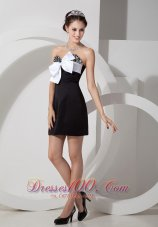 Black Satin Beading Mini-length Bow Cocktail Dress