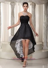 Lace Sweetheart Black Prom Dress High-low Ruched