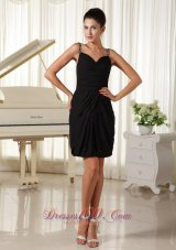 Straps Black Low Back Mini-length Homecoming Gowns