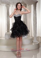 Beaded Sweetheart Black Cocktail Dress with Ruffles