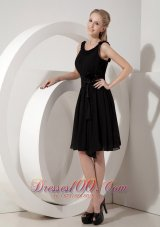 Knee-length Little Black Dress Scoop Chiffon Sash
