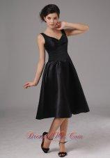 Black Straps Tea Length Taffeta Dress for Bridesmaid