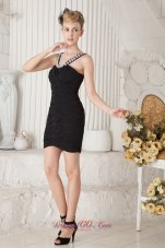 Column Beaded Straps Mini Little Black Dress