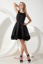 A-line Taffeta Scoop Mini-length Little Black Dress