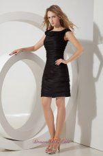 Ruched Bateau Column Mini Taffeta Little Black Dress