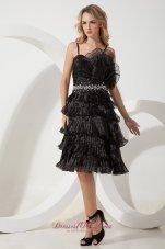 Handmade Flower Organza Short Straps Black Prom Gown