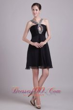 Straps Keyhole Opening Short Chiffon Beading Cocktail Dress