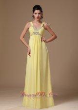 Light Yellow Straps Beaded Chiffon Prom Graduation Dress
