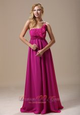 Fuchsia Floral One Shoulder Prom Holiday Dress