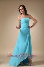 Asymmetrical Aqua Blue Strapless Chiffon Prom Gown Dress
