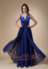 Royal Blue Long Evening Dress V-neck Satin and Chiffon