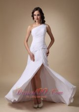 White Shoulder High slit Chiffon Ruched Prom Gown