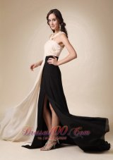 champagne and Black Keyhole Opening Chiffon Evening Dress