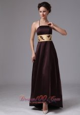 Brown Spaghetti Straps Satin Mother Dress On Sale