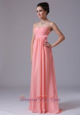 Watermelon Sweetheart Floor-length 2013 Prom Dress Ruched In Ann Arbor Michigan