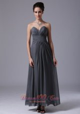 Grey Sweetheart Bridesmaid Dress Chiffon Ankle-length
