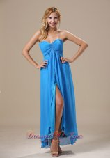 Aqua Blue High Slit Ankle-length Chiffon Prom Gown Dress
