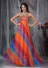 Colorful Prom Celebrity Gown Empire Straps Chiffon Beading