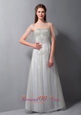 Gray A-line Strapless Bridesmaid Dress Tulle and Taffeta
