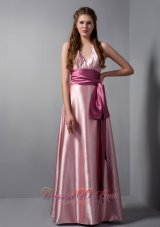 Pink V-neck Sash Bridesmaid Dress Elastic Woven Satin