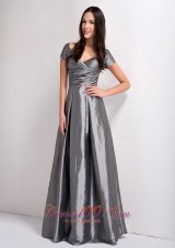 Grey Mother Dress V-neck Ruch Floor-legnth Taffeta