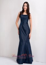 Beautiful Navy Blue Mermaid Taffeta Scoop Bridesmaid Dress